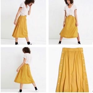 Madewell side button yellow cotton skirt size 4